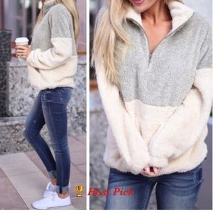 Sweaters - Fuzzy Half-Zip Taupe/Cream Pullover Sweater. (1L)